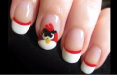 Uñas decoradas con Angry Birds