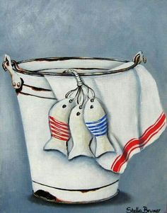 Art by Stella Bruwer white enamel bucket, white towel with red stripe and 3 little fishes