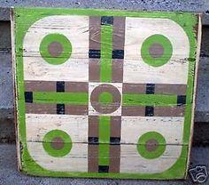 Primitive-Folk-Art-Wood-Parchessi-Gameboard-Board