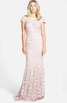 Tadashi Shoji Textured Lace Mermaid Gown (Regular & Petite) available at #Nordstrom @Nancy Shimomura this is for you!