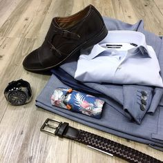 The details. // NEW Cambridge suit Hugo Boss shirt Croft double monk strap leather shoes NEW woven leather belt NEW Bossini print pocket square NEW Otumm watch and NEW Ted Baker leather cuff.
