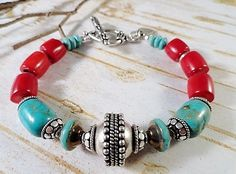 Turquoise And Red Coral Bracelet, Red Bamboo Coral, Antique Silver Plated Bali Componets, Picasso Czech Glass, OOAK - pinned by pin4etsy.com