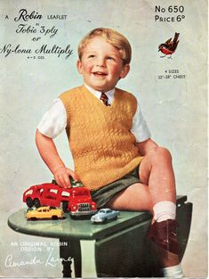 childrens slipover knitting pattern pdf vintage 50s boys pullover sleeveless sweater 22-28 inch 3ply pdf download by coutureknitcrochet on Etsy