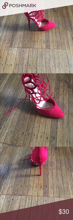 Red string up heels! Never worn low cut red string up shoes . Shoes are a 9 but are a bit snug. JustFab Shoes Heels