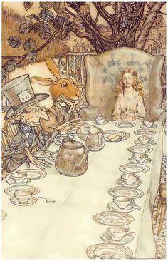 Alice in Wonderland Tea Party Arthur Rackham Art 11x17 Poster
