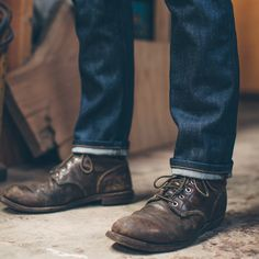 The Slim Jean in Cone Mills Standard is part of Mens fashion rugged - A slim, straight cut of Cone Mills denim Crafted here in SF, these jeans are as homegrown as Mom's pecan pie Limited Quantities Leather Men, Leather Boots, Brown Leather, Red Wing Boots, Mens Boots Fashion, Sneaker Boots, Cool Boots, Jeans And Boots, How To Wear