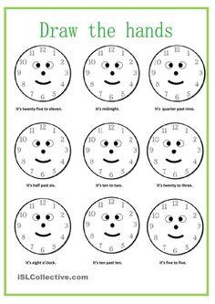 What time is it? worksheet Free ESL printable worksheets made by teachers English grammar Clock Worksheets, Free Kindergarten Worksheets, Teacher Worksheets, Worksheets For Kids, Printable Worksheets, Fractions Worksheets, Free Printable, English Grammar Worksheets, English Vocabulary