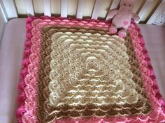 Baby girl crochet blanket-perfect baby shower gift made to fit a cot. £30.00