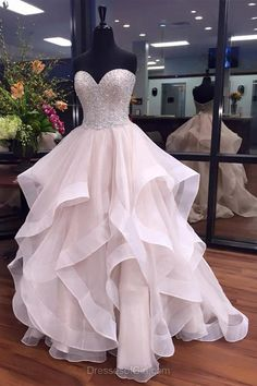 Boutique Ball Gown Prom Dresses, Sweetheart Organza Long Evening Party Gowns, Elegant Beading Women Formal Dresses