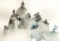 Famous places in Aquarelle painting is a project by Korean artist and illustrator Sunga Park. Sunga currently lives and works in Busan, Rep of South Korea. Watercolor Sketch, Watercolor Illustration, Watercolor Paintings, Watercolors, Colour Architecture, Watercolor Architecture, Paris Architecture, Architecture Drawings, Beautiful Architecture
