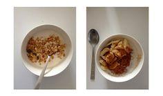 """""""Puuroa ja jogurttia syön usein aamuisin ja tässä ovatkit yleisimmät sekoitukset.    Kulho 1: Luonnonjogurttia ja mysliä. (usein laitan myös tilkan fun light mehua)  Kulho 2: Elovena rusina-karamelli puuroa (2 annosta :P), manteli maitoa, banaani ja kanelia     Suuressa suosiossa on tietty myös puuro + banaani + maapähkinävoi!"""""""