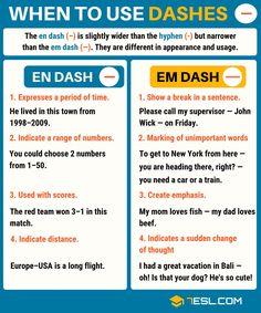 The em dash (—) and the en dash (–) in English! Learn how and when to use dashes with examples and ESL worksheet. The dash is one of the most important punctuation marks in the English language. Teaching English Grammar, English Writing Skills, English Vocabulary Words, Learn English Words, Grammar Lessons, English Language Learning, Grammar Help, German Language, Japanese Language