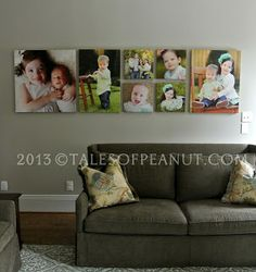 Displaying Photos of Your Children Gallery Wall Layout, Gallery Walls, Wall Canvas, Canvas Frame, Wall Frame Arrangements, Family Wall Collage, Decorating With Pictures, Decorating Ideas, Craft Ideas
