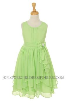 KK_2040LM - Girls Dress Style 2040 - LIME- Chiffon Dress with Rhinestone Waist Bow - Green - Flower Girl Dress For Less