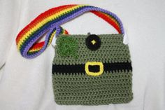 St. Patrick's Day inspired purse with rainbow by TracyplusCrochet, $15.00