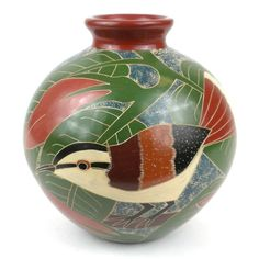 6 inch Tall Vase - White Bird Handmade and Fair Trade. This decorative vase from Nicaragua is 6 inches tall and 6 inches in diameter, featuring a white bird and red flower design. This is low fired and not designed to hold water. Bird Design, Traditional Pottery, Art, Design