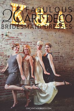 A Stylish Speakeasy Inspired Art Deco Wedding Soiree A Deliciously Art Deco Speakeasy Inspired Wedding Soiree from Chris Spira Photography Art Deco Bridesmaid Dresses, Art Deco Bridesmaids, Wedding Dresses, Boho Vintage, Chic Vintage Brides, Great Gatsby Party, Steam Punk, Speakeasy Wedding, 1920s Wedding