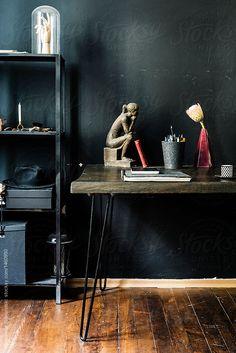 Dark home office with black walls by Aleksandar Novoselski - Stocksy United Decor Interior Design, Interior Decorating, Black Walls, Home Office, The Unit, Furniture, Royalty, Home Decor, Free