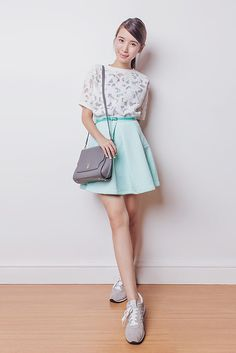 Get this look: http://lb.nu/look/7760736  More looks by Tricia Gosingtian: http://lb.nu/tgosingtian  Items in this look:  Just G Top, Just G Skirt, Lapalette Bag, New Balance Shoes   #casual #classic