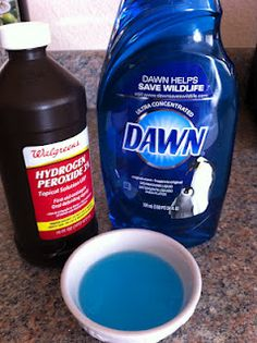 Laundry stains out with this recipe: Take 1 part original blue Dawn dish soap and add 2 parts of hydrogen peroxide. Add extra hydrogen peroxide for whites!