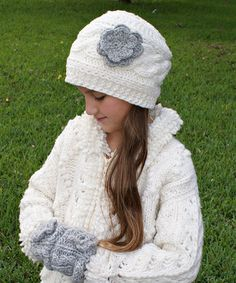 Love this Ecru & Silver Flower Gloria Cable-Knit Wool Beanie by Little Cotton Dress on #zulily! #zulilyfinds