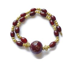 22 Inches red oval glass bead necklace with round by SunMoonJewels