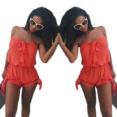 romper halter Super cute romper with side adjustable straps to tie as a bow or knot, also long straps to make it a halter top or wrap around as a strapless. SO cute!!!  20% off bundles of 2 or more.  Non smoking closet.    Any orders of 5 or more get an additional discount! contact me as I would have to put a bundle together for you manually. Let's talk!  1-2 day shipping.   All items are brand new in an unopened original sealed bag Pants Jumpsuits & Rompers