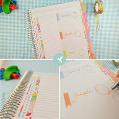 Utilize o Índice do Mês do My Planner para listar todos aniversários! Numere os espaços e vá completando com os nomes das pessoas da sua vida. Utilize os flags nos boxes para definir cores. Assim terá uma legenda para escrever nos dias dos aniversários conforme seus grupos: família, amigos e especiais.
