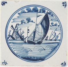 Antique Dutch Delft tile with a iconic Dutch landscape scene with boats and a windmill, 18th century