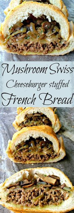 Mushroom Swiss Cheeseburger stuffed French Bread ~ Sautéed mushrooms and onions layered on lean ground beef smothered in Swiss cheese stuffed inside a loaf of French Bread. ~ The Complete Savorist Simple Food Recipes, Food Recipes Homemade Great Recipes, Dinner Recipes, Favorite Recipes, Easy Recipes, Healthy Recipes, Beef Dishes, Food Dishes, Beste Burger, Sandwiches