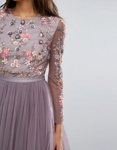 Shop Needle & Thread Ditsy Scatter Tulle Gown at ASOS. Blue Tea Dresses, Grad Dresses, Lovely Dresses, Dance Dresses, Bridesmaid Dresses, Vestidos Vintage, Vintage Dresses, Asos Fashion, Fashion Dresses