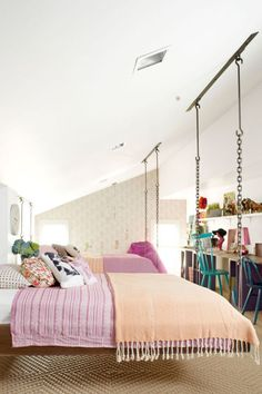 The girls' bedroom in Ree Drummond's homefeatures hanging beds—so cool!