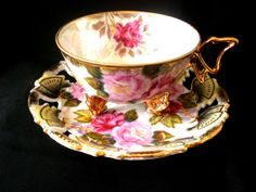 Royal Sealy 3 Footed Butterfly Handle Teacup Iridescent Lattice Cup and Saucer