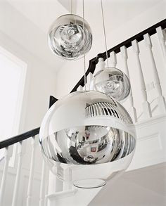 An orb chandelier by Tom Dixon hangs in the stairwell of Alexandra von Furstenberg's California home. Photographed by François Halard, Vogue, May House Inspiration, Interior Inspiration, House Elements, Decor Inspiration, Modern Deco, Stylish Furniture, Futuristic Home, Orb Chandelier, House Interior