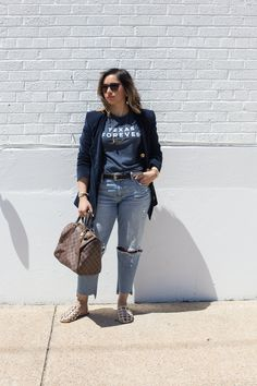 Relaxed fit jeans | Navy Velvet Blazer via Flea Style | Harley Slides via Ascot and Hart |