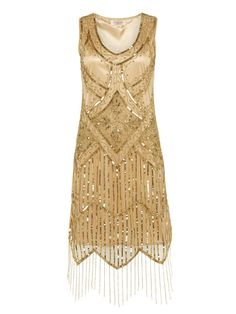 UK10 US6 Gold Vintage inspired 1920s vibe Flapper Great Gatsby Beaded Charleston Sequin Art Deco Wedding Party  Fringe Dress New Hand Made
