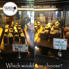 BIG or SMALL? Which serving of our #cakes would you prefer? Our #bigslice of our #chocolate #walnut #brownie or the small version: the #mini #brownies. Let us know you thoughts below. #Servingsizes for all #sweettooths at T apeo 82 Redfern St, Redfern NSW. Check us out at http://www.Tapeo.com.au & follow us on FB http://FB.com.tapeo.au #tapeo #tapeocafe #tapeoredfern #redfern #sydneycafe #sydney #cafe #restaurant