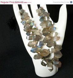 ON SALE Labradorite Twist Briolettes - Step-Faceted - One-half Strand - Multi-color Blue, Green, Gold  Flash
