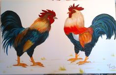 Gallos Acrílico sobre tela 1,40 x 0,90 cm