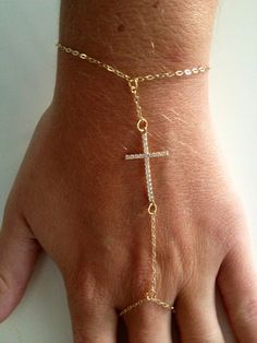 Gold slave bracelet with cross by AbbeyEDesigns on Etsy, $35.99