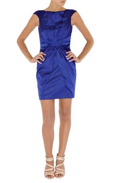 Karen Millen Colourful Satin Dress Blue Dl207