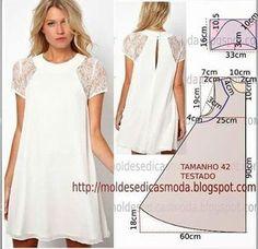 http://moldesdicasmoda.com/vestido-facil-de-fazer-52/ #modafeminina #modamujer #couturefashion #costura #patternmaking #casual #patrones #whitedresses #dresses
