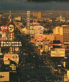 Looking North on the Las Vegas Strip in the 1980s.  The Strip is busier by my next trip at age 21!  Woot!  I stayed at The Sands, also gone now.