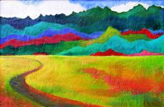 Luscious Original Landscape Painting- The Path, framed