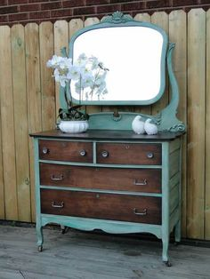 Chalk paint dresser and mirror Sarah Jayne kingfisher blue green furniture repurposed