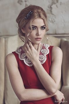 Inspiration Lane ravishing red dress with white lace collar