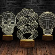 Illusion Lamps with Wooden standard 3d Light, Lamp Design, Illusions, Wicker, Perfume, Christmas Tree, Lights, Led, Chair