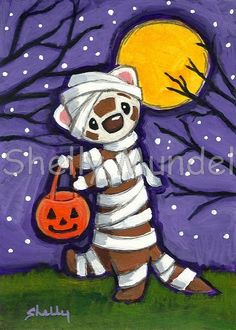 Ferret Art ACEO print Mummy Shelly Mundel Art by ShellyMundelArt