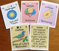 Print-your-own elements cards. There's a card for every element, with a picture on the front and words on the back. Also included are twelve two-sided chemical group cards and five two-sided key cards (symbol key and color key).  Great idea with other free printable elements and elements charts
