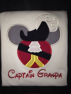 Captain Hook Mickey Ears appliqued shirt. by BellaRagazzi on Etsy, $24.00